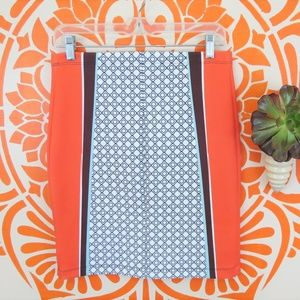 Clover Canyon Orange Graphic Neoprene Skirt L